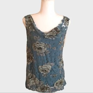 Made in Italy flowers lace crochet sleeveless top